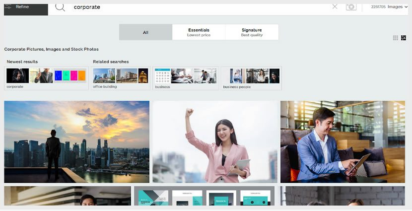 stock imagery for website redesign